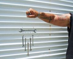 This is a smaller version of the Busted Knuckles Chime. It will also be at home by the garage, the barn, at the racetrack, or a great addition for the mancave, and it also makes a great dinner bell.    This wind chime is made from recycled wrenches. The high quality steel that is used in wrenchs produce a nice ring tone to this chime.  Go green and save the earth One Chime At A Time.    The wreches are hung from a large washer to add to the unique design of the wind chime, and the wrenches…