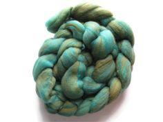 Hand Dyed Wool and Silk Roving Turquoise and by flickertailfibers, $19.00