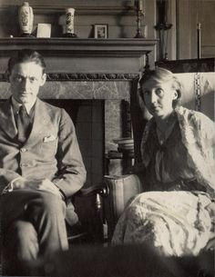 Virginia Woolf with T. S. Eliot by Lady Ottoline Morrell, June 1924. ( I think the man looks too handsome to be TSE. )