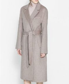 Speckle Sable Long Woollen Coat with Waistband