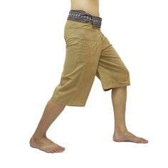 Peach Thai Fisherman Pants Short 3/4 with Thai hand woven fabric on waist side, Wide Leg pants, Wrap pants, Unisex pants  $22.00 Free shipping