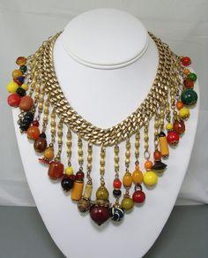 Deco Bakelite Carved Celluloid & Plastic Beads Dangles Bib Necklace