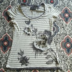 Tshirt Cute short sleeve embellished tshirt with flowers and sequins. Miss Me Tops Tees - Short Sleeve