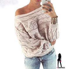 Beige Off Shoulder Textured Knit Sweater M Beige flat knit acrylic cotton blend flat knit off shoulder long sleeve sweater with knit flower detail. Versatile color. Is more between the cover shot and the mannequin shot. Fits about a medium. Tops