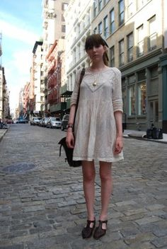 Street style: The perfect slouchy bag? From a charity shop in Brighton. Charity Shop, Greenwich Village, Brighton, Love Her, Style Me, White Dress, Street Style, Bag, How To Wear