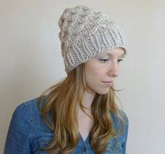 Textured Neutral Tan Beanie READY TO SHIP Chunky Hat by BoPeepsBonnets