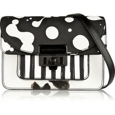 Marc by Marc Jacobs Lip Lock leather-trimmed printed PVC shoulder bag ($330) ❤ liked on Polyvore featuring bags, handbags, shoulder bags, black, pvc handbags, marc by marc jacobs handbags, lips purse, black purse and black handbags