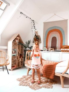 I'm riding the rainbow train and this inspiring kids room by is everything ❤️🧡💛. Can someone please help me transplant this… Bohemian Kids, Bohemian Nursery, Girl Room, Girls Bedroom, Cozy Room, Heart For Kids, Kid Spaces, Stores, Kids House