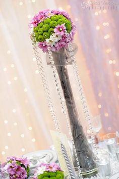 Best Wedding Idea Ever. Wedding Reception Themes, Wedding Table Flowers, Wedding Table Decorations, Flower Decorations, Floral Wedding, Floral Centerpieces, Wedding Centerpieces, Floral Arrangements, Hanging Flowers