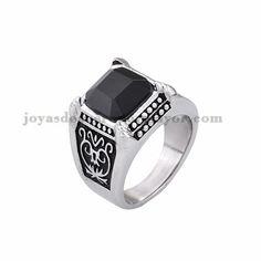 anillo de serie escuela piedra negra en acero plateado inoxidable - SSRGG371814