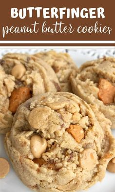 Peanut butter butterfinger cookies! If you love peanut butter & Butterfingers then these cookies will be your new best friend! Loaded with peanut butter, peanut butter chips, and lots of crushed Butterfinger candy bars. #peanutbuttercookies #butterfinger #cookies #cookierecipes Easy Cookie Recipes, Cookie Desserts, Fun Desserts, Sweet Recipes, Baking Recipes, Delicious Desserts, Dessert Recipes, Yummy Food, Cookie Ideas