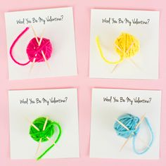 "Make these cute ""Wooly Be My Valentine?"" favors to share with friends and family this Valentine's Day. The balls of …"
