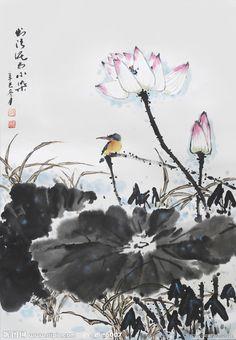 mokuren Japanese Painting, Chinese Painting, Chinese Art, Watercolor Flowers, Watercolor Paintings, August Wallpaper, Lotus Art, Ink Painting, Asian Art