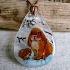 Rabbit necklace  Mom and Baby bunny fused glass by ArtoftheMoment, $55.00