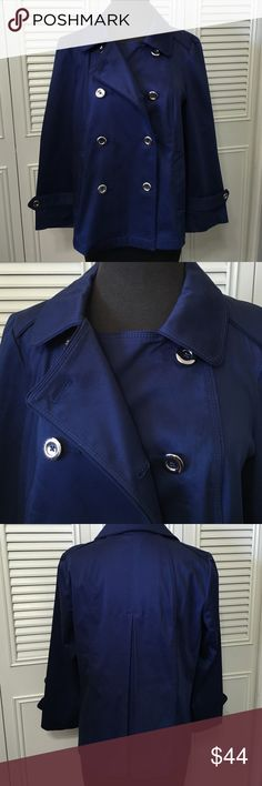 """White House Black Market Jacket Adorable Blue Like New short cotton/spandex, silver button closure, functional front pockets. Sleeve are ~3/4 length (20 1/4"""" long) from back length is 22 3/4"""". One Inside Botton closure. White House Black Market Jackets & Coats"""