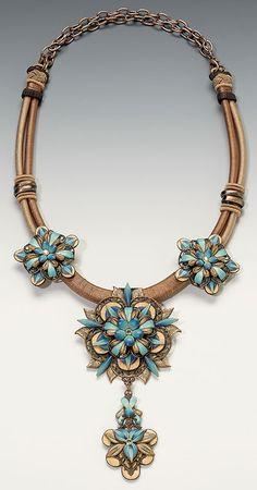 Necklace | Lynne Ann Schwarzenberg. 'Beautifully Baroque' Polymer Clay