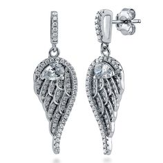 Sterling Silver Cubic Zirconia Angel Wings Dangle Drop Earrings >>