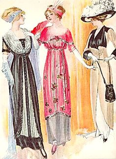 1911 Full Color Fashion Illustration Elegant Evening Wear..oh to live in a time like this!