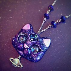Three eyed Space Kitty Necklace by FleurDeLapin