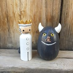 Where the Wild Things Are, Max and Wild Thing, Wood Peg Dolls hand painted wood peg people peg doll