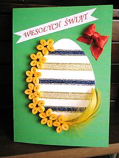 Paper Quilling Patterns, Diy Cards, Easter Crafts, Birthday Cards, Arts And Crafts, Scrapbook, Made By Hands, Easter, Teachers