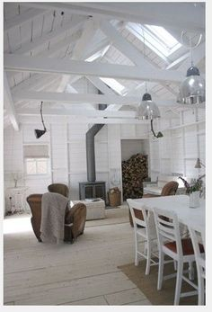 Skylights and simple colours with wood burning stove