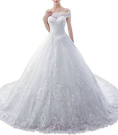 Off-shoulder A-line Applique Tulle Bridal Wedding Dresses... https://www.amazon.ca/dp/B01KJNGD2Q/ref=cm_sw_r_pi_dp_x_y4oOybK0FHVXB