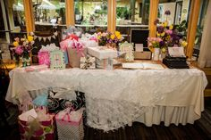 """Folks, I'm in love! It began the instant I saw the first photo of this event, and the feelings only deepened as I continued to look through the rest of these gorgeous images! The style of this bridal shower was """"shabby chic,"""" andgoodnessdid this party atSundy Houselive up to that theme!  Exquisite lace tablecloths …"""