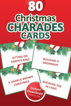 Charades Game, Printable Christmas Games, Fun Christmas Games, Printable Designs, Baby Shower Printables, Card Games, Etsy Shop, This Or That Questions