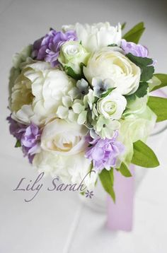 White Peony silk flower bouquet with a combination of white, green and light purple.
