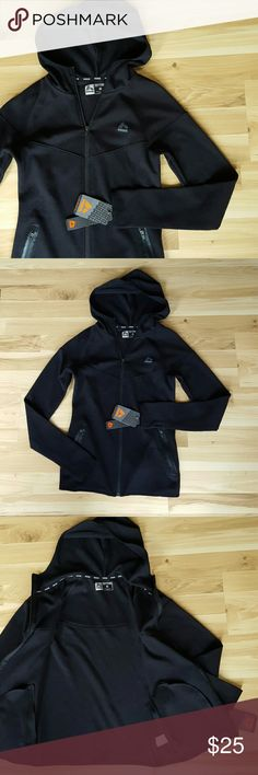 """RBX Hoodie/Jacket Black Hooded Sweatshirt NWT  Details on tag - Wicking pulls moisture away from skin, flexible for comfort & pergormance, quick dry allows moisture to evaporate fast, fade resistant.   Both pockets zip & there are thumb holes.   52% Cotton, 48% Polyester   Size Small   Flat lay measurements -- Width under sleeves: 16"""" Length from top of shoulder: 23.5""""  MSRP $78.00 Reebok Jackets & Coats"""