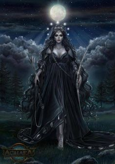 Moon Goddess-I would say she represents Nyx, save for the bow so maybe the darker aspect of Artemis....
