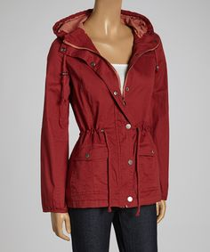 Take a look at the Snobbish Wine Hooded Roll-Tab Sleeve Jacket on #zulily today!