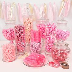 Just Candy pink bulk colored candy will match your theme and they are the perfect addition to your candy buffet or candy table. 18th Birthday Party, Barbie Birthday, Barbie Party, Sweet 16 Birthday, Birthday Candy Bar, Pink Birthday Food, Birthday Ideas, Pink Candy Buffet, Candy Buffet Tables