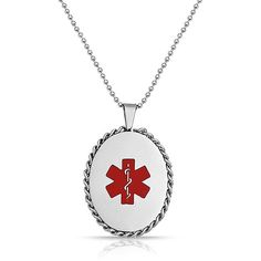 Stainless Steel Chain Oval Medical ID Tag Pendant Necklace 20in ($21) ❤ liked on Polyvore featuring men's fashion, men's jewelry, men's necklaces, necklaces mens necklace, red, mens stainless steel chains, mens necklaces, mens chain link necklace, mens necklace pendants and mens chain necklace