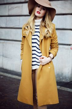 Mustard yellow coat #stripes