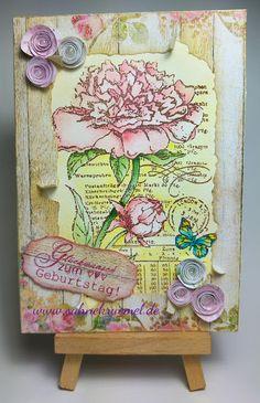 """Pfingstrosen & Gerbera"" Viva Decor; Paper Pad ""Beautiful Flowers"" Studiolight; Sentiment ""Texte Glückwunsch"" Craft Emotions; Embossing powder WOW; Stickles; ""Ovals"" Nellie Snellen; Distress ""Antique Linen""; colored with TwinklingsH20"