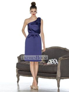 A-line One Shoulder with Ribbon Knee Length Taffeta Bridesmaid Dress BD10265