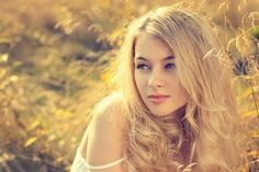 Photographic Print: Portrait of Blonde Woman on Nature Background by brickrena : 24x16in