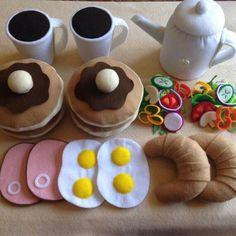 Items similar to Felt food Pretend play food Breakfast set, Pancake,Egg & Ham,Coffee etc. on Etsy - Kinderspiele Pretend Food, Pretend Play, Role Play, Food Crafts, Diy Food, Felt Crafts Diy, Sewing Crafts, Diy For Kids, Crafts For Kids