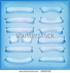 Cartoon Glass Ice and Crystal Banners/ Illustration of a set of comic styled glass, ice or crystal banners and signs for ui game - stock vector