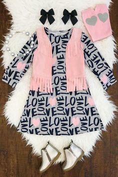"""""""Love"""" Pink/Gray Fringe Vest Dress"""