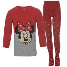 Girls Licensed Disney Minnie Mouse Red Sweatshirt Dress & Tights Outfit Set