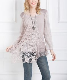 Pink Lace-Accent Tunic