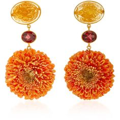 Bahina Dalia 18K Gold, Citrine and Garnet Earrings ($2,350) ❤ liked on Polyvore featuring jewelry, earrings, accessories, orange, citrine earrings, earring jewelry, gold jewellery, yellow gold earrings and 18 karat gold jewelry