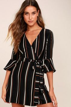 Lulus Exclusive! Take off in the Gone To Geneva Black Striped Wrap Dress! Ultra soft woven fabric, in a black, white, and brown striped print, shapes a plunging, wrap bodice, and three-quarter length flounce sleeves. Tying waist (with internal ties) tops a wrapping mini skirt.