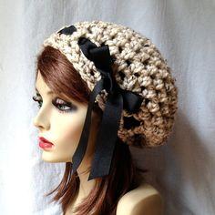 Crochet Womens Hat, Slouchy Beret, Oatmeal, Very Soft Chunky Wool, Ribbon, Warm, Teens, Winter, Ski Hat, JE80SB2 on Etsy, $35.00