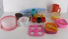 VINTAGE 40 +Pc Tuppertoys Tupperware Play Dishes Baking Set Pretend Play