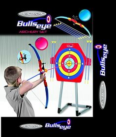 Bulls Eye Electronic Archery Game Set w/ Laser Vision. Target features electronic cheering sound when bullseye is struck; bow is equipped w/ laser technology for accuracy Recommended for ages 10+