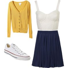 cardigans, flowy skirts, and converse.